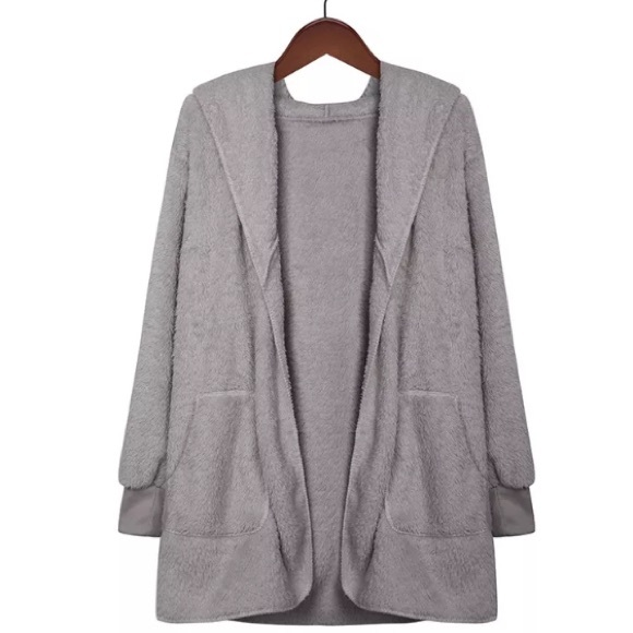 New item! Teddy fuzzy hooded cardigan sweater M from Gracie • posh ...